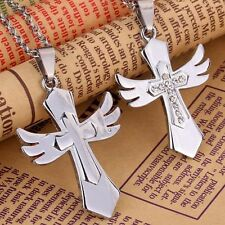 2pc Matching Necklace Set Cross Wing Couple Friendship Best Friend Love Jewelry