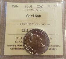 2001 NO P canada 25 cents ICCS MS64