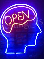 """Open Mind Brain Red Man Cave Light Neon Sign Beer Bar Gift 14""""x10"""" Lamp"""