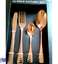 16 Piece Copper Cutlery Set Heart Detail Forks Spoons STYLISH* DISH WASHER SAFE