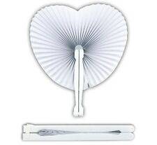60x Ventagli Bianchi Pieghevoli Plastica Carta Forma Cuore Matrimonio Bomboniera