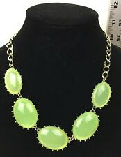 Gold Colored Chain Oval Green Sparkle Bead Necklace Costume Jewelry