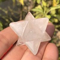 1.5''Natural clear quartz merkaba star skull quartz crystal skull gem carved 1pc