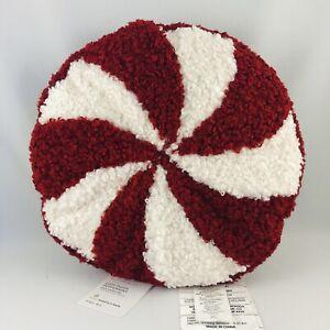 Pottery Barn Cozy Teddy Faux Fur Peppermint Candy Throw Pillow Christmas NWT