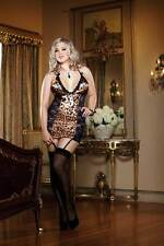 Plus Size Women Scallope Lace Leopard Satin Halter Garter Slip Babydoll Lingerie