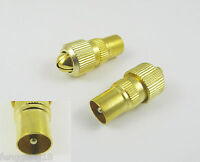 10x RF Antenna CATV TV FM Coax Cable PAL Male Plug Connector Adapter Gold Plated