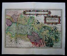 1607 Original Antique Mercator Hondius Map of Liege Belgium Leodiensis Dioecesis