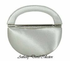 Ladies Silver Satin & Metal Evening Bag Handbag Purse with Swarovski Crystal