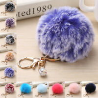 Furry Pompom Ball Key Chain/Ring Keyrings Women Bag Hanging Decor Accessory