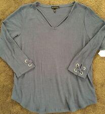 Nwt Derek Heart Plus Sz 3X Long Sleeve Waffle Shirt Blue CUTE