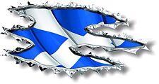 Vinyl sticker/decal 120mm Scotland ripped torn metal WAVING  flag - facing left