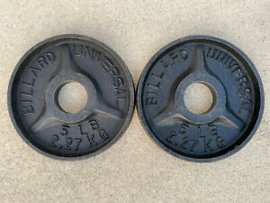 "Vintage Deep Dish BILLARD Universal 2"" Barbell Weight Plates 2 X 5 Ib Lathed"