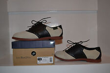 G. H. Bass Women's Enfield Off White Suede/Black Leather Saddle Oxford 7.5M