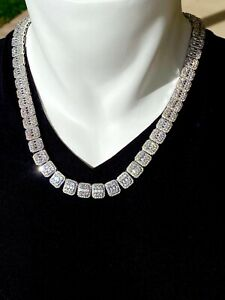 Men's Baguette Tennis Chain 11mm Ice Out 14k White Gold Diamond Real ICYChoker