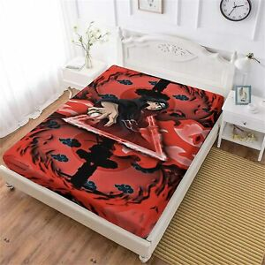 NARUTO0 Anime Fitted Sheet Deep Pocket Bed Sheet Set 3PCS Bedding Set Pillowcase