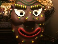 RARE SIGNED Wooden Smiling Colorful KABUKI MASK w/ wht eyes, grn, yel & rd SPOTS