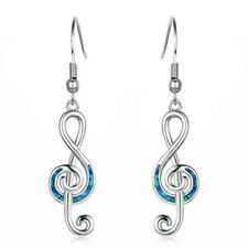 1 Pair Woman Fashion 925 Silver Note Blue Fire Opal Charm Earring Pendant NEW