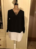 PAPAYA Ladies Black Ivory Colour Block 3/4 Sleeve V Neck Blouse Top Size 8