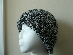 Hand knitted warm & cozy wool blend beanie/hat, black/white