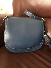 EUC Coach Saddle Bag 23 In Glovetanned Leather Dark Blue Denim 38198