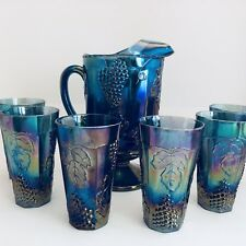 Vintage Carnival Indiana Glass Pitcher 6 Tumblers Grape Harvest Blue Iridescent