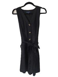 French Connection Black Linen Utility Romper Jumpsuit With Pockets Sz 12 EC