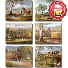 Cinnamon Working Horses Cork Backed Placemats | Set of 6pcs