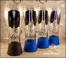 Personalised Glitter wedding pint beer glasses groom groomsmen best men suit