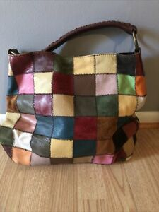 Lucky Brand Hobo Purse Handbag Patchwork Suede And Leather Large