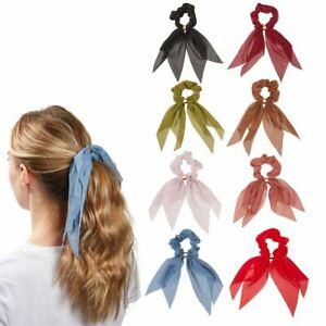 Scarf Hair Ties, Neutral Toned Silk Hair Scrunchies (8 Colors, 8 Pack)