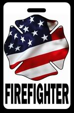 Firefighter USA Flag Maltese Cross Luggage/Gear Bag Tag - FREE Personalization