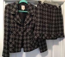 Nanette Lepore Brown Tweed Wool Blend Jacket Blazer (10) Skirt (8) Lined Pleats