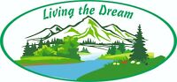MOTORHOME CAMPER VAN CARAVAN / STICKERS /DECAL / GRAPHIC / LIVING THE DREAM/ C l