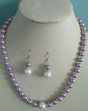 8mm Purple South Sea Shell Pearl necklace AAA 18 inches Earring Set h97