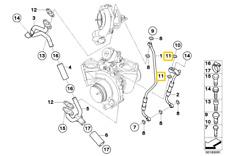 Genuine BMW Turbocompresor Junta anular N47 A12X16-CU 07119963132