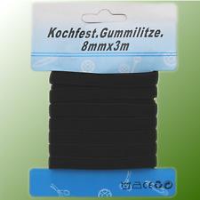 Gummilitze Gummiband Hosengummi 6mm 8mm 10mm 15mm Wäschegummi Lochgummi Schwarz