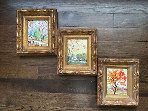 3 Vintage oil?paintings original framed, Signed, Landscape, Autumn, Guc