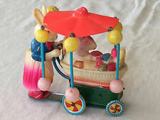 Vintage Celluloid Wind Up Mother Bunny Pushing Baby Bunny Easter Carriage