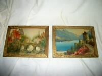 ART DECO FRAMES LAKE COMO ITALY DUTCH STREET SCENE 1920's ANTIQUE SET