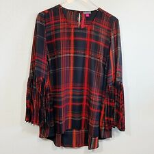 Vince Camuto Women's Red And Black Plaid Top Accordion Sleeves Size L Hi Low Hem