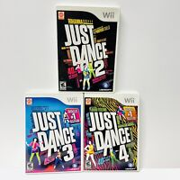 JUST DANCE 2 3 4 Nintendo Wii 3 Video Game Lot TESTED Working!