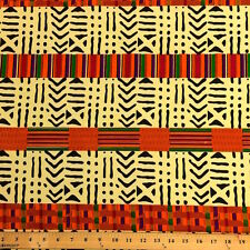 Kente African Print Fabric 100% Cotton 44'' wide sold by the yard (19009-1)