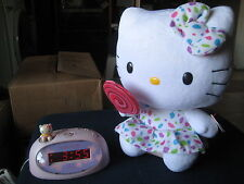 SANRIO HELLO KITTY LOLLIPOP TY PLUSH BEANIE & Clock Digital Alarm Model HK105P