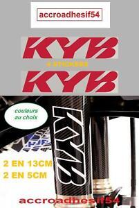 4 STICKERS Autocollant KYB blanc/noir Fourche cadre  2 X13 cm /2 EN 5CM