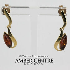 prodotto in Italia moderna Ambra Baltica in 9ct oro pendente earrings-ge0130