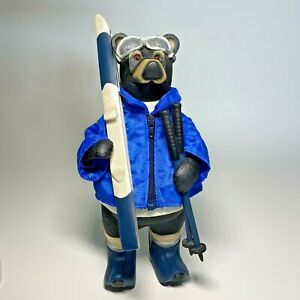 Original Hadley Collection Bear Figurine Ski Bum Black Bear Poles Goggles Jacket