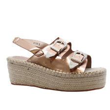 Ladies Womens Mid Wedge Buckles Espadrilles Platform Flatform Sandals Shoes Size Rose Gold Hessian UK 5 / EUR 38 / US 7