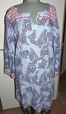 OLD NAVY Ladies Embroidered Paisley Print Tunic Top  White/Blue  Size LG  NWT