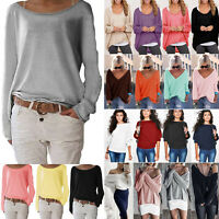 Plus Size Women Loose Jumper Long Sleeve Knit Sweater Casual Pullover Top Shirt