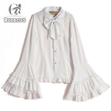 Women Vintage Lolita Sweet Blouse Shirt White Long Sleeve Lace Chiffon Costume 3xl